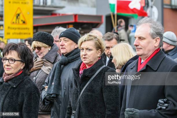 Anna Fotyga is seen during the Cursed soldiers Day parade on 26 February 2017 in Gdansk Poland The Cursed soldiers were a members of anticommunist...