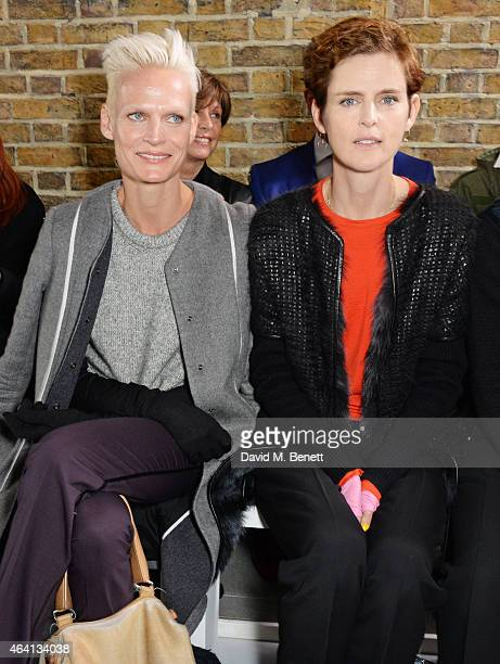 Anna Freemantle and Stella Tennant attend the Pringle of Scotland Fully Fashioned Exhibition and Autumn/Winter 2015 Womenswear Runway Show at The...