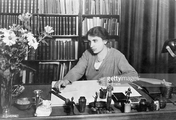 Anna Freud , psychoanalyst and daughter of Sigmund Freud. Seated in her study.