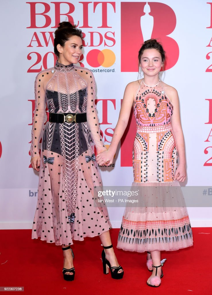 Anna Friel and daughter Gracie attending the Brit Awards at the O2 Arena, London.