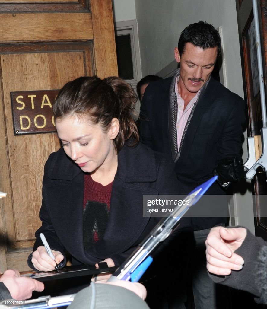 Anna Friel and Luke Evans leaving Vaudeville on January 25, 2013 in London, England.