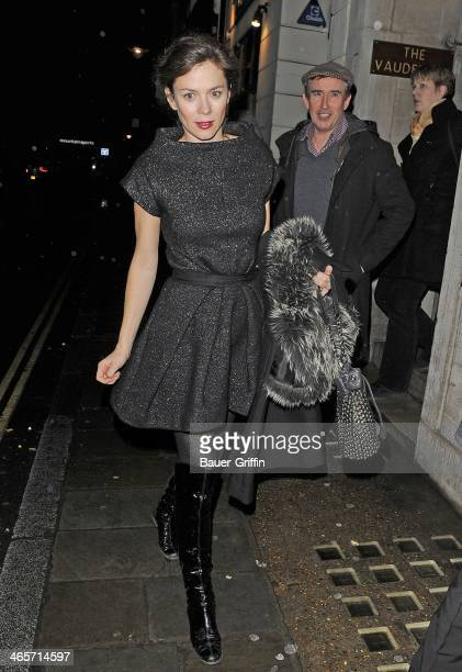 Anna Friel leaves the Vaudeville Theatre with Steve Coogan the pair headed to the Groucho Club on December 20 2012 in London United Kingdom