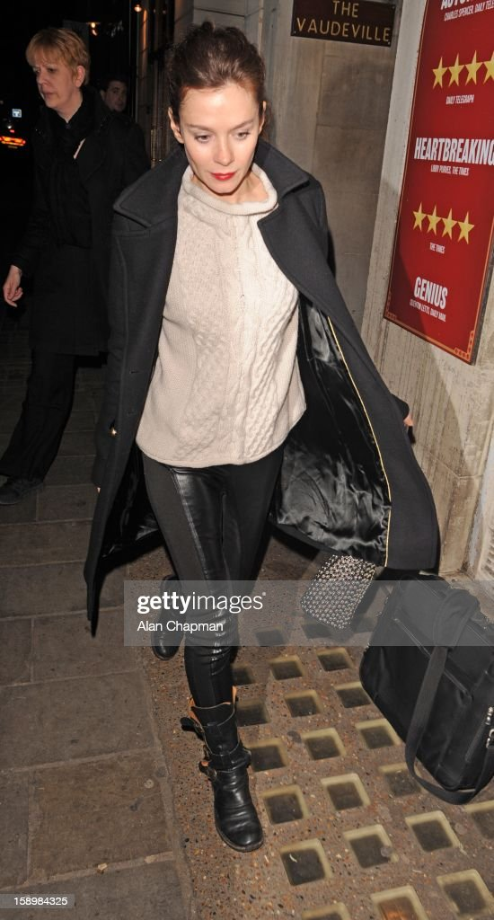 Anna Friel seen leaving the Vaudeville Theatre on January 4, 2013 in London, England.