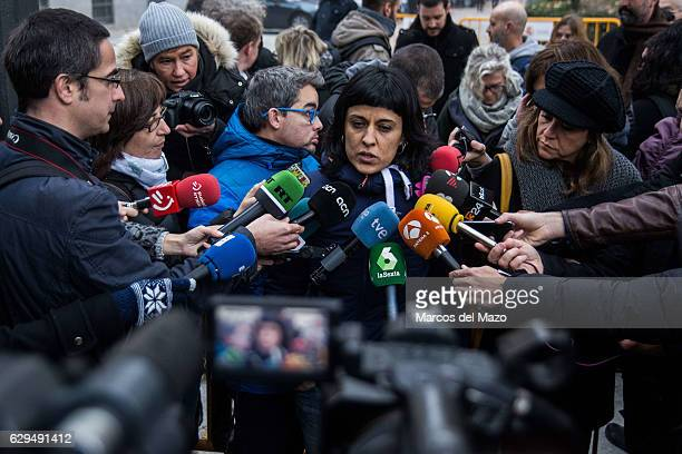 Anna Gabriel deputy of the CUP in the Catalan Parliament speaking to the press about the pro independence activists who are questioned in the Spanish...