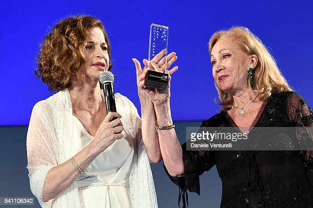 Anna Galiena and Rosetta Sannelli attend Baume Mercier Closing Night 62 Taormina Film Fest on June 18 2016 in Taormina Italy