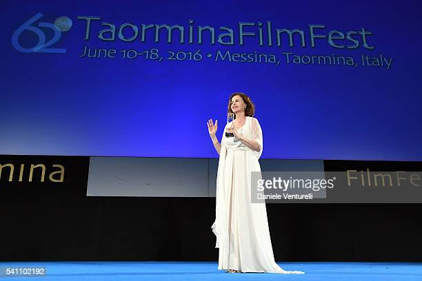 Anna Galiena attends Baume Mercier Closing Night 62 Taormina Film Fest on June 18 2016 in Taormina Italy