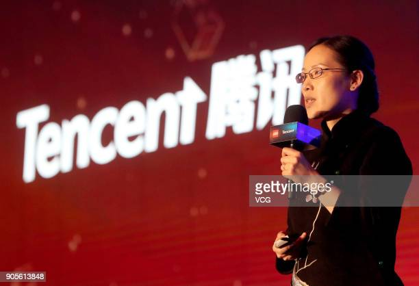 Anna Gao Vice President of Tencent Games attends a news conference on January 15 2018 in Beijing China Chinese internet giant Tencent has signed a...