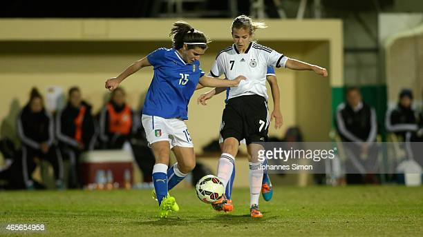 Anna Gasper of Germany and Valentina Bergamaschi of Italy fight for the ball during the women's U19 international friendly match between Germany and...