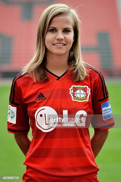 Anna Gasper poses during Bayer Leverkusen women's team presentation at BayArena on July 28 2014 in Leverkusen Germany