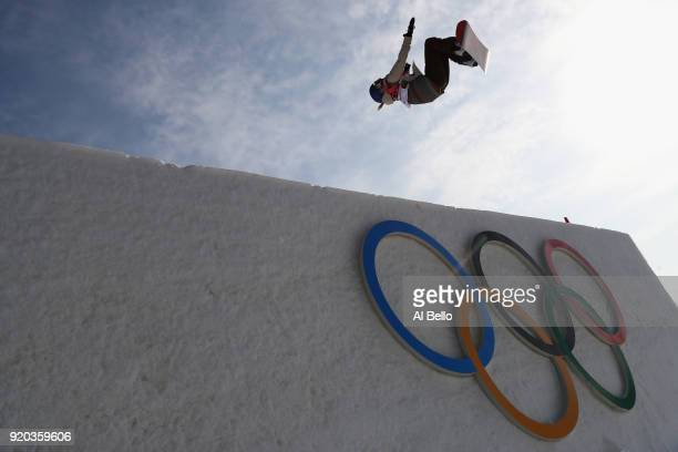 Anna Gasser of Austria competes during the Snowboard Ladies' Big Air Qualification on day 10 of the PyeongChang 2018 Winter Olympic Games at Alpensia...
