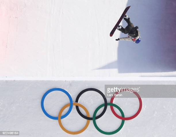 Anna Gasser of Austria competes during the Snowboard Ladies' Big Air Final Run 1 on day 13 of the PyeongChang 2018 Winter Olympic Games at Phoenix...