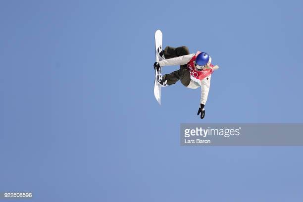 Anna Gasser of Austria competes during the Snowboard Ladies' Big Air Final Run 3 on day 13 of the PyeongChang 2018 Winter Olympic Games at Phoenix...