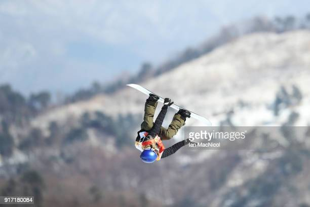 Anna Gasser of Austria competes in the Ladies Slopestyle Final at Phoenix Snow Park on February 12 2018 in Pyeongchanggun South Korea