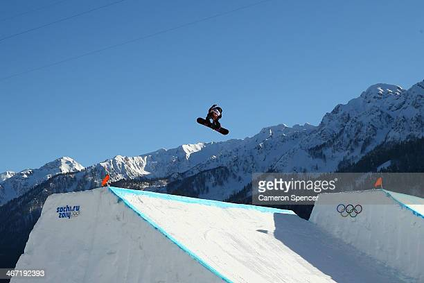Anna Gasser of Austria competes in the Women's Slopestyle Qualification during the Sochi 2014 Winter Olympics at Rosa Khutor Extreme Park on February...