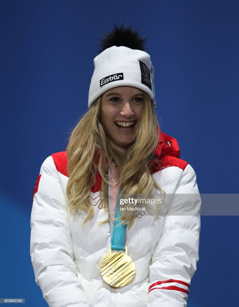 Anna Gasser of Austria is seen with her gold medal from the Ladies Snowboard Big Air Final at Medal Plaza on February 22, 2018 in Pyeongchang-gun, South Korea.