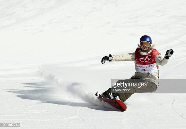 Anna Gasser of Austria reacts after her run during the Snowboard Ladies' Big Air Final on day 13 of the PyeongChang 2018 Winter Olympic Games at...