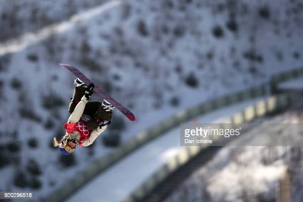Anna Gasser of Austria takes part in a practice session before the Snowboard Ladies' Big Air Qualification on day 10 of the PyeongChang 2018 Winter...