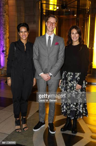 Anna Gedda Erik Bang and Virginia RustiquePetteni attend the launch of the Circular Fibres Initiate Report 'Towards A New Textiles Economy' hosted by...