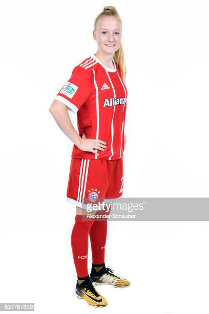 Anna Gerhardt of Bayern Muenchen poses during the Allianz Frauen Bundesliga Club Tour at FC Bayern Muenchen Campus on August 20 2017 in Munich Germany