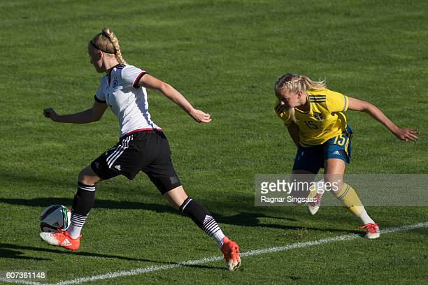 Anna Gerhardt of Germany and Amanda Persson of Sweden compete for the ball during the International Friendly game between Sweden U20 Women's and...