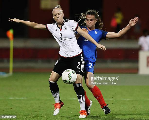 Anna Gerhardt of Germany and Marion Romanelli challenge for the ball during the FIFA U20 Women's World Cup Papua New Guinea 2016 Quarter Final match...