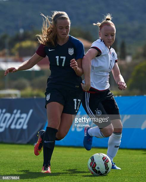 Anna Gerhardt of Germany competes for the ball with Tara Mckeown of USA during the international friendly match between Germany Women U19 and USA...