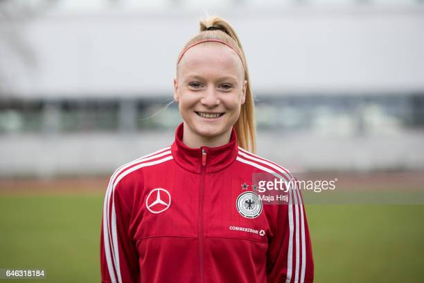 Anna Gerhardt poses during the Germany Women's U19 team presentation on February 28 2017 in Duesseldorf Germany