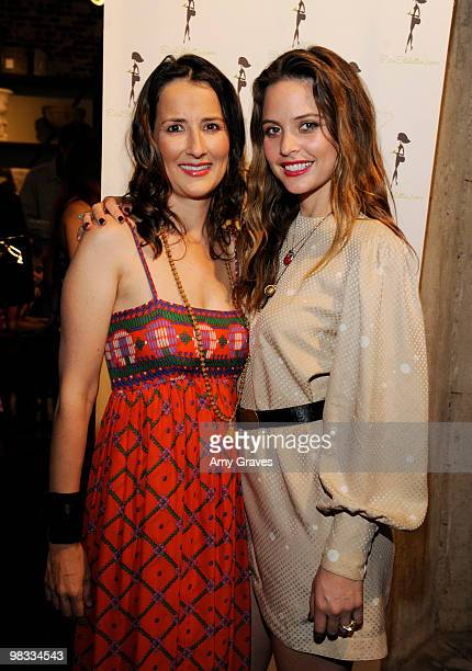 Anna Getty and Josie Maran attend the Anna Getty 'Easy Green Organic Cook Well Eat Well Live Well' Book Party at Rolling Greens on April 7 2010 in...