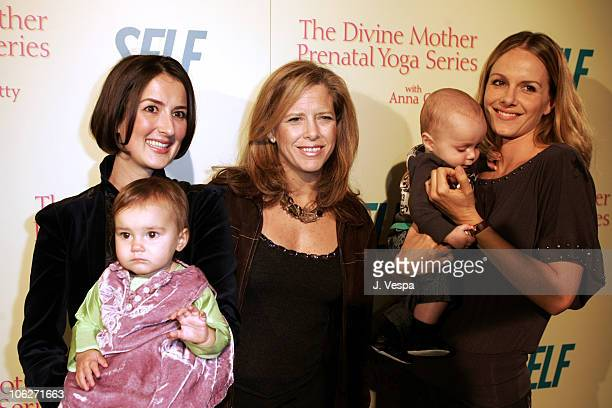 Anna Getty Lucy Danziger and Monet Mazur during The Divine Mother Prenatal Yoga Series Launch Party at Tea House in Los Angeles California United...