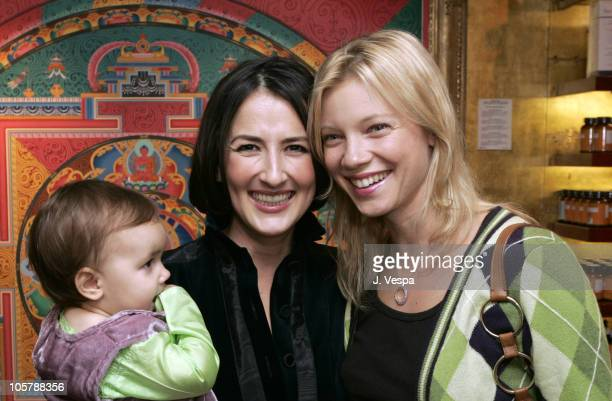 Anna Getty with her daughter India and Amy Smart during The Divine Mother Prenatal Yoga Series Launch Party at Tea House in Los Angeles, California,...