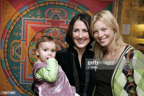 Anna Getty with her daughter India and Amy Smart during The Divine Mother Prenatal Yoga Series Launch Party at Tea House in Los Angeles California...