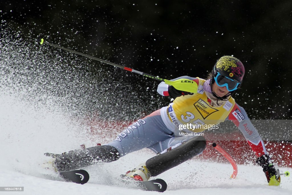 Anna Goodman of Canada races down the course whilst competing in the Audi FIS Alpine Ski World Cup Women's Slalom on March 10, 2013 in Ofterschwang, Germany.