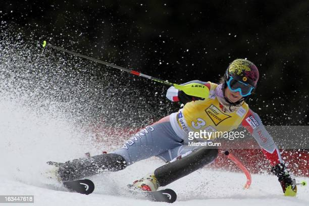 Anna Goodman of Canada races down the course whilst competing in the Audi FIS Alpine Ski World Cup Women's Slalom on March 10 2013 in Ofterschwang...