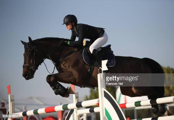Anna Gorbacheva of Russia rides Colando during the Dubai Show Jumping Championships on January 18 2018 in Dubai United Arab Emirates