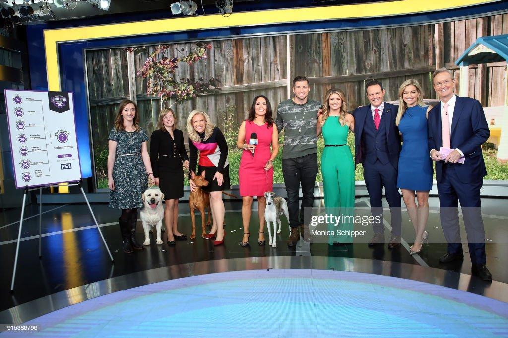 Anna Gracie, Laura Kieffer, Janice Dean, Gail Miller Bisher, Tim Tebow, Jillian Mele, Brian Kilmeade, Ainsley Earhardt and Steve Doocy at Fox News Studios on February 7, 2018 in New York City.