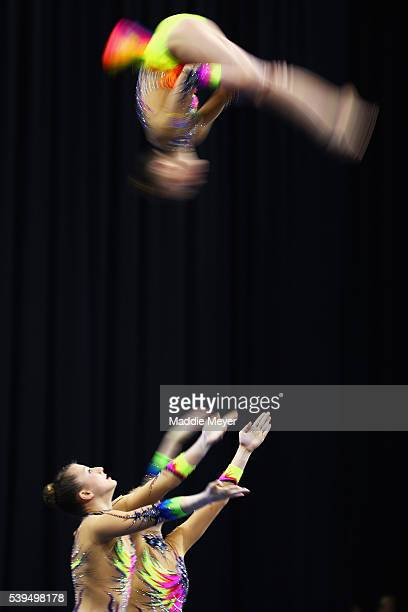 Anna Grafov, Caitlyn Kicza and Lauren Pountnav compete in the Women's Group Dynamic competition during 2016 USA Gymnastics Championships - Day 2 at...