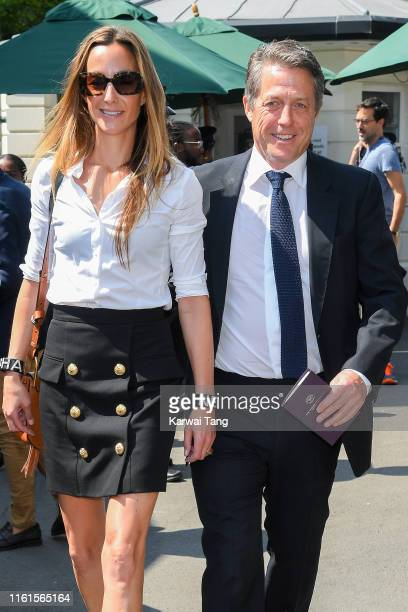 Anna Grant and Hugh Grant attend day eleven of the Wimbledon Tennis Championships at All England Lawn Tennis and Croquet Club on July 12 2019 in...