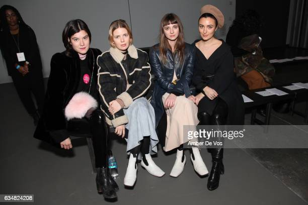 Anna Gray Megan Gray Brie Welch and Malu Byrne attend the A Detacher show during New York Fashion Week at Pier 59 on February 11 2017 in New York City