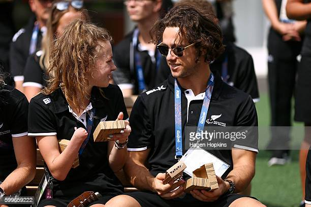 Anna Grimaldi and Liam Malone of New Zealand talk during the New Zealand Paralympics Rio 2016 team welcome at Paralympic Village on September 6 2016...