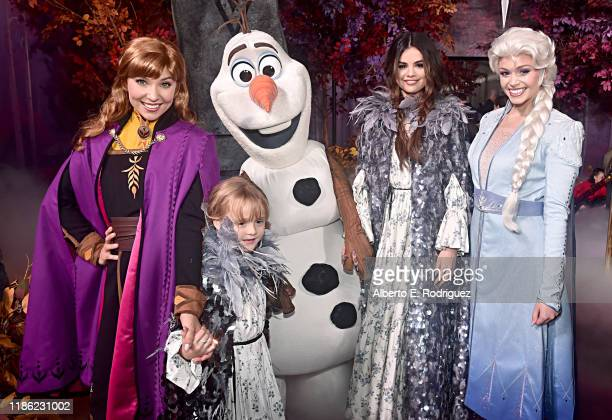 Anna guest Olaf Selena Gomez and Elsa attend the world premiere of Disney's Frozen 2 at Hollywood's Dolby Theatre on Thursday November 7 2019 in...