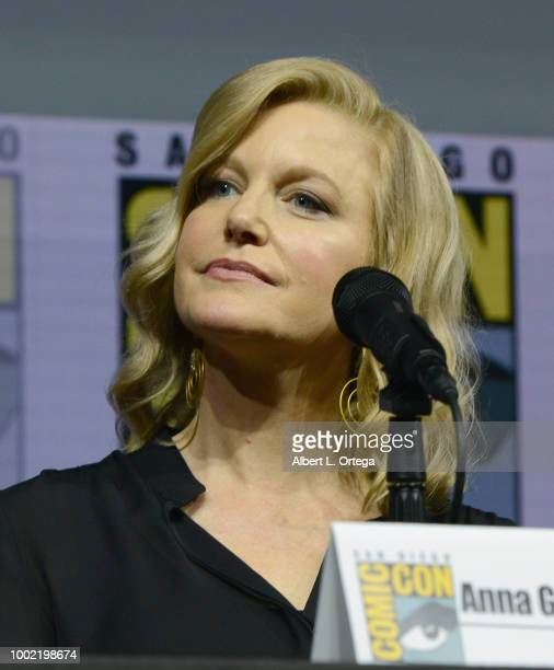 Anna Gunn speaks onstage during the 'Breaking Bad' 10th Anniversary Celebration during ComicCon International 2018 at San Diego Convention Center on...