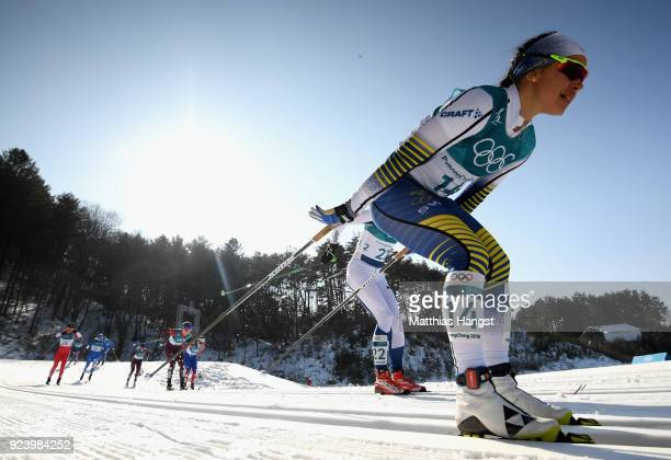 Anna Haag of Sweden competes during the Ladies' 30km Mass Start Classic on day sixteen of the PyeongChang 2018 Winter Olympic Games at Alpensia...