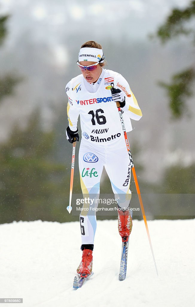 Anna Haag of Sweden competes in the women's 2,5 km Cross Country Skiing during the FIS World Cup on March 19, 2010 in Falun, Sweden.
