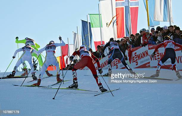 Anna Haag of Sweden Petra Majdic of Slovenia Maria Rydqvist of Sweden Riikka Sarasoja of Finland and Justina Kowalczyk of Poland compete during the...