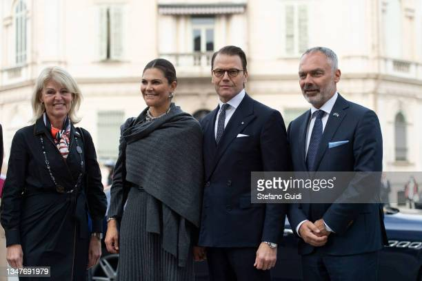 Anna Hallberg, Crown Princess Victoria of Sweden, Prince Daniel of Sweden and Jan Björklund during a visit at Unione Industriale in Turin to promote...