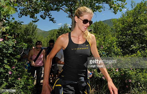 Anna Hansen hikes up the Ute Trail after Lance Armstrong tweets his intent to climb the 22mile trail during the Aspen Institute's Ideas Festival 2011...