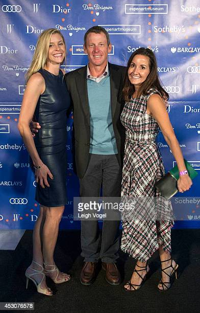 Anna Hansen Lance Armstrong and Laura Reynolds attend Audi At Aspen Art Museum 2014 ArtCrush Summer Benefit on August 1 2014 in Aspen Colorado
