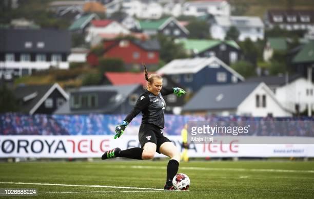 Anna Hansen of Faeroe Islands in action during the Faeroe Islands Women's v Germany Women's 2019 FIFA Women's World Championship Qualifier match on...