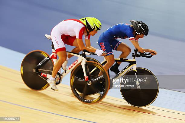 Anna Harkowska of Poland competes with Kelly Crowley of The United States of America in the Women's Individual C5 Pursuit qualification round on day...