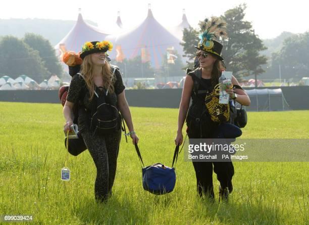 Anna Harris and Georgia Nightingale, both 25, arriving for the Glastonbury Festival at Worthy Farm in Pilton, Somerset.
